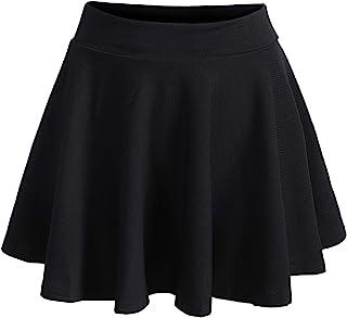 ROMWE Women's Plus Size Stretchy Elastic Waist Flared Casual Mini Skater Skirt