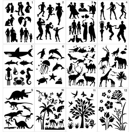 Qpout 12Blatt Zeichenschablonen Malerei Schablonen für Kinder, 8,26x11,6 Zoll Menschen Tiere Pflanzen Plastik Zeichenvorlagen Journal Zeichenschablonen für Kinder DIY Bastelprojekt Schule Malwerkzeuge