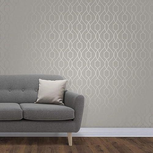 Fine Décor FD41997 UK Apex Trellis Sidewall Wallpaper, Taupe/Grey