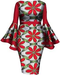 Women Large Size Trumpet Sleeve Dashiki African A-Line Dress