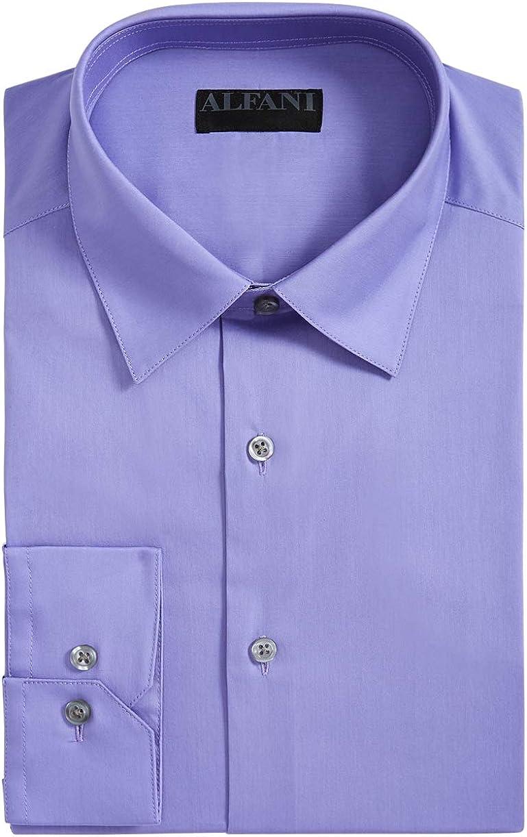 Alfani Mens Dress Shirt 17-17 1/2 Slim Fit Alfa-Tech Purple XL