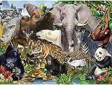 ZXSDFV Puzzle 500 Piezas para Adultos DIY Grande Wooden Jigsaw Puzzles Vida Salvaje del Elefante Tigre Puzzle Adultos 500 Piezas Rompecabezas De Juguete