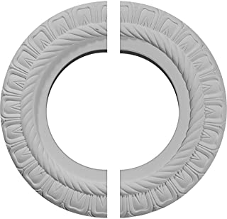 "Ekena Millwork CM10CL2 10 5/8""OD x 5 3/4""ID x 1/2""P Claremont Ceiling Medallion, Two Piece (Fits Canopies up to 7""), Factory Primed"