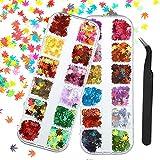 upain 24 Colores / 2 Cajas Lentejuelas para Uñas Hojas de Arce de Holograficas, Glitter Uñas Decoración 3D, Purpurina de Uñas Decoración con Diseño de calcomanías DIY