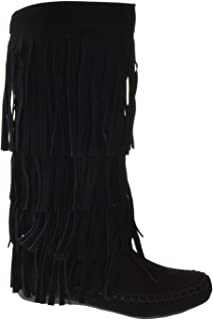 Mudd 55 Womens 4 Layer Fringe Moccasin Mid-Calf Boots Rust