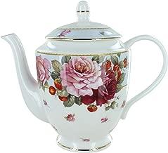 Peony and Strawberry Blue Bone China - 40 Ounce Teapot