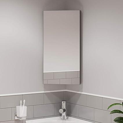 Artis Wall Mounted Single Mirror Door Corner Bathroom Cabinet Cupboard Stainless Steel Amazon Co Uk Home Kitchen