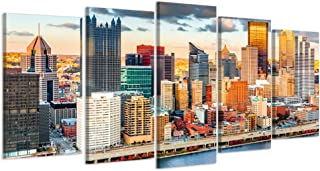 Visual Art Decor 5 Pieces Canvas Prints Wall Art Pittsburgh Downtown in Sunset Viewed from Grandview Overlook Across Monon...
