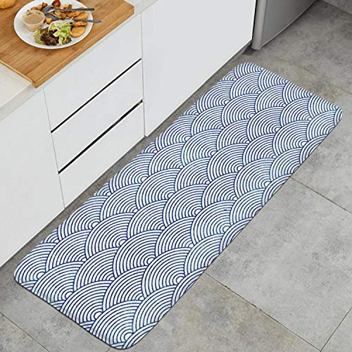 Nhgwn Ukiyo-e Blue Fan Ultra-Fine Kitchen Floor Mats,Interior Decoration Design Standing Floor Mats-The Best Choice for Kitchen,17.7X47.2 Inch