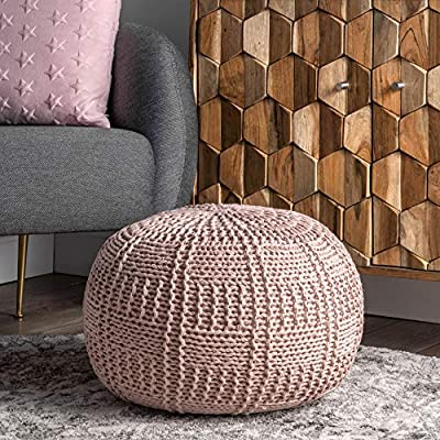 nuLOOM Berlin Casual Knitted Basketweave Ottoman Pouf, Blush
