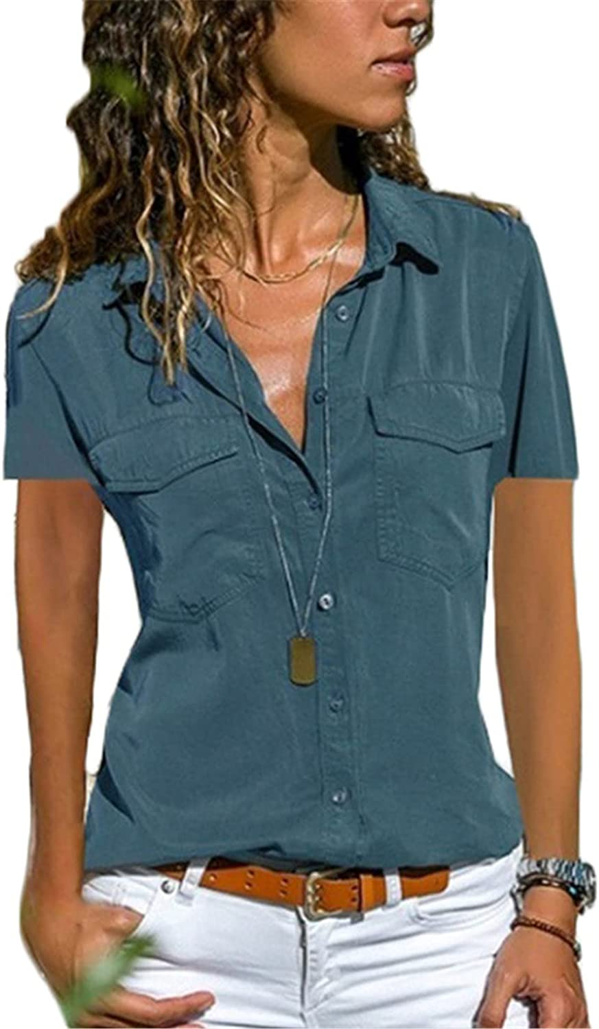 Andongnywell Womens Front Button Down Shirts Short Sleeve Tunic Lapel Tops Blouse Shirts with Pocket