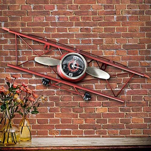 Dekorative Flugzeugwanduhr im Retro-Stil aus Eisen und leisem Metall, Quarz für Wohnzimmer, rot 47 x 12,5 cm