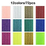 72 Pieces Glitter Hot Glue Colored Gun Sticks, 12 Colors, AFUNTA EVA Glue Mini Size Hot Melt Adhesive Sticks for DIY Art Craft Repair Bonding - Diameter 7 mm/0.28