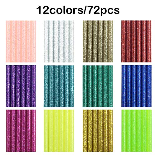 72 Pieces Glitter Hot Glue Colored Gun Sticks, 12 Colors, AFUNTA EVA Glue Mini Size Hot Melt Adhesive Sticks for DIY Art Craft Repair Bonding - Diameter 7 mm/0.28, Length 10 cm/3.9