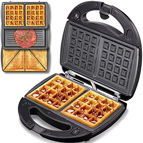 Yabano Waffle Maker 3 in 1 Toastie Maker, Deep Fill Sandwich Toasters & Panini Press Grill with Detachable Non-Stick Plates, LED Indicator Lights, Cool Touch Handle, Dishwasher Safe, 800W