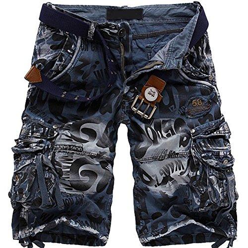 Mochoose Herren Sommer Casual Camouflage Baumwoll Twill Cargo Shorts Multi Taschen Outdoor Tragen Hosen(Blau,34)