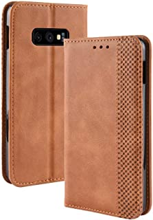 Protective Case Compatible with Samsung PU Leather Soft Inner Design Business Magnetic Closure Flip Wallet Protective Case Cover Compatible Samsung Galaxy S10 Lite Phone case (Color : Brown)