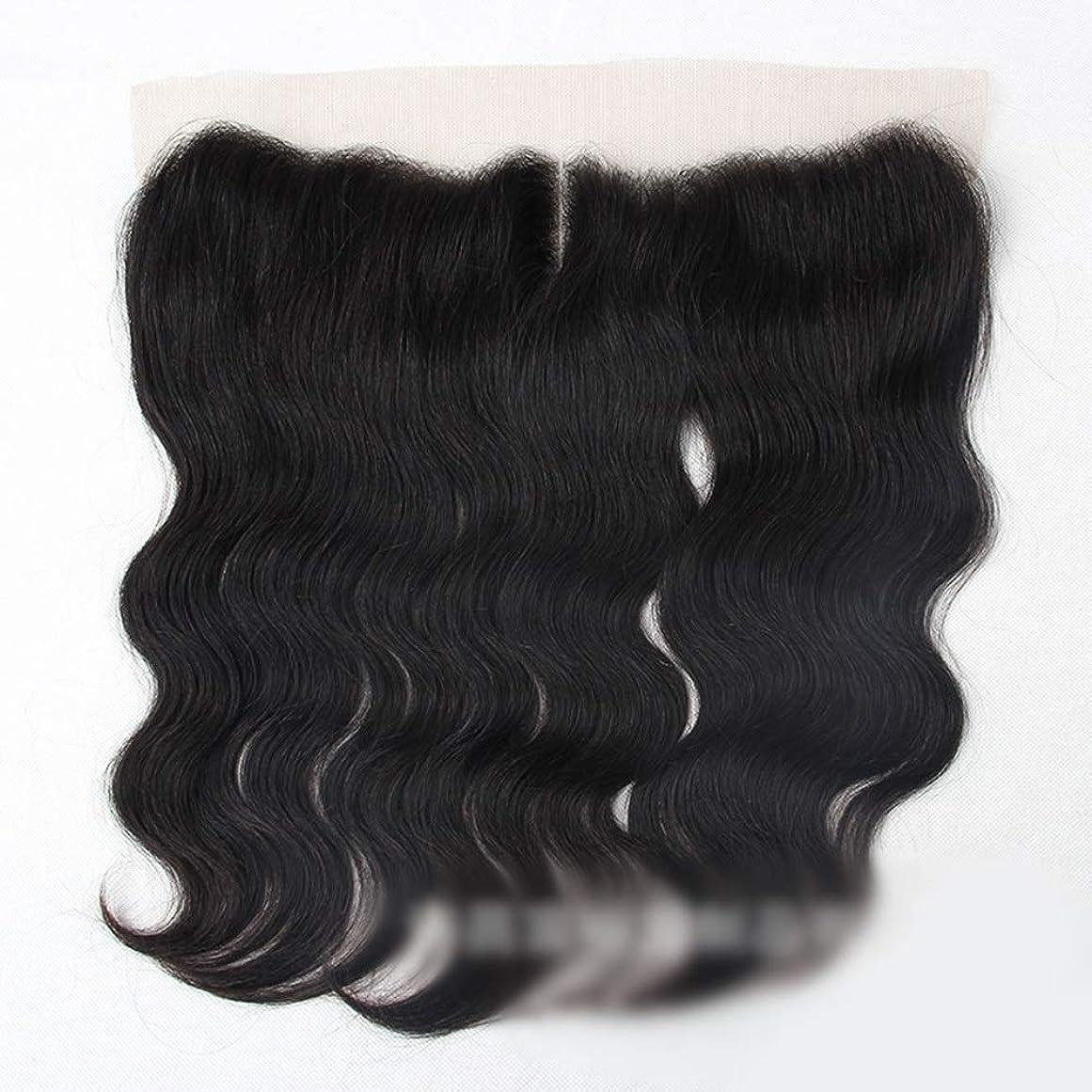 これら攻撃アミューズブラジル実体波人間の髪の毛13×4レース前頭閉鎖中間部ナチュラルブラック モデリングツール (色 : 黒, サイズ : 16 inch)