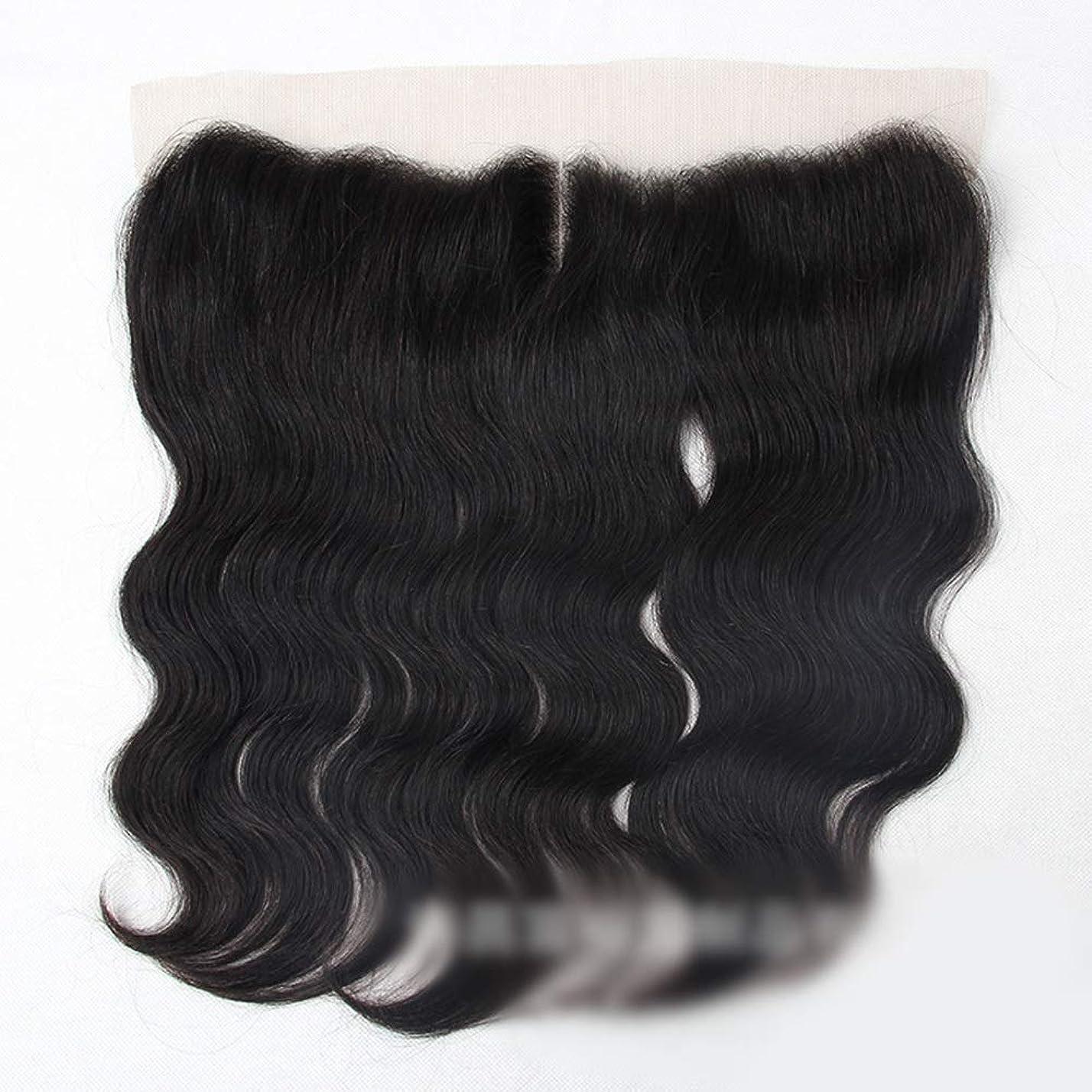延ばすにもかかわらず締めるブラジル実体波人間の髪の毛13×4レース前頭閉鎖中間部ナチュラルブラック モデリングツール (色 : 黒, サイズ : 16 inch)