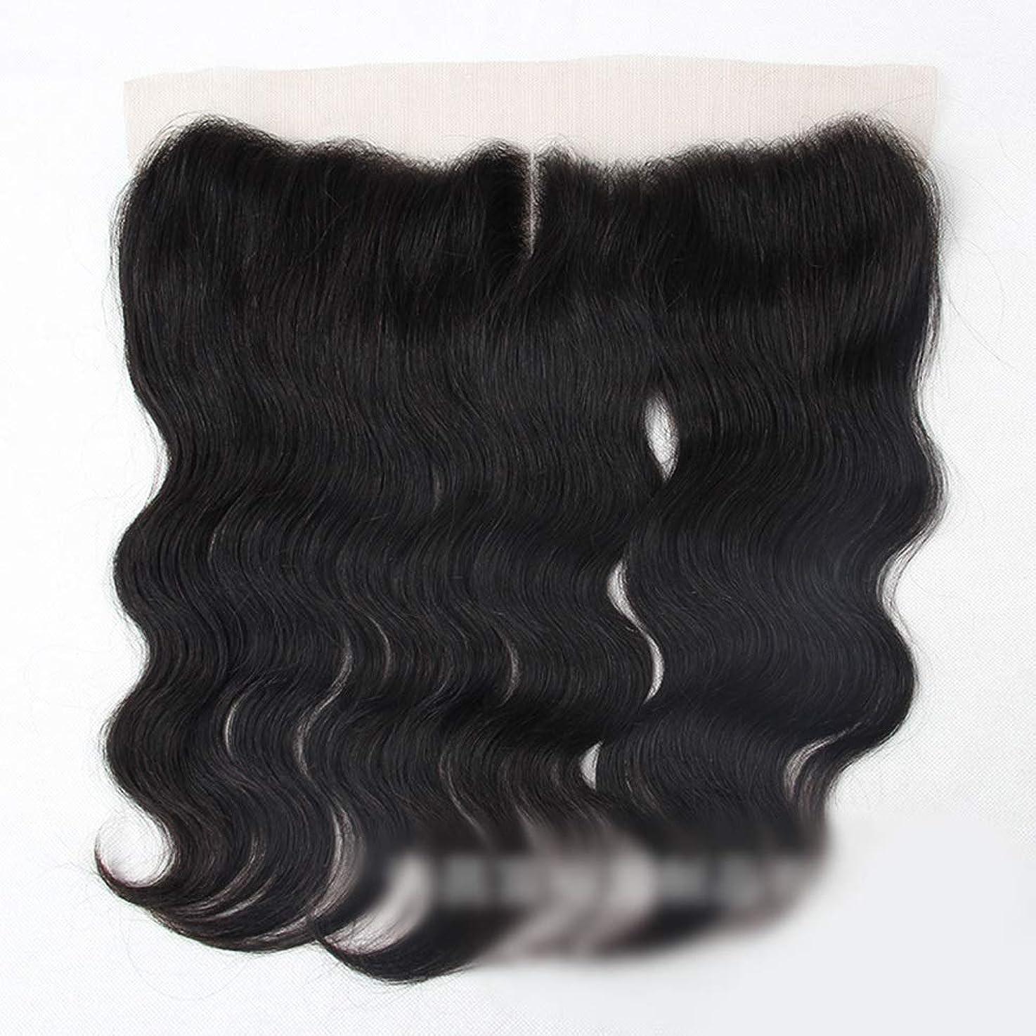 合金ベルトするだろうYAHONGOE ブラジルの実体波人間の髪の毛13×4レース前頭閉鎖中間部ナチュラルブラックカラーショートウィッグ (色 : 黒, サイズ : 8 inch)