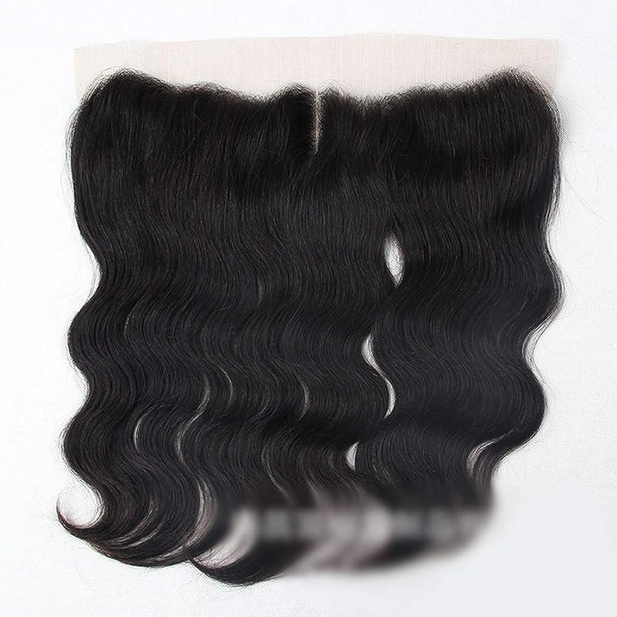 コレクションロータリーめるブラジル実体波人間の髪の毛13×4レース前頭閉鎖中間部ナチュラルブラック モデリングツール (色 : 黒, サイズ : 16 inch)