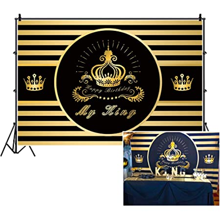 Kings Brand Royal Traditions Happy Birthday 10x6.5ft Polyester Photography Background Luxurious Golden Royal Crown Diamonds Decors Black Backdrop Adult Birthday Party Banner Studio Props