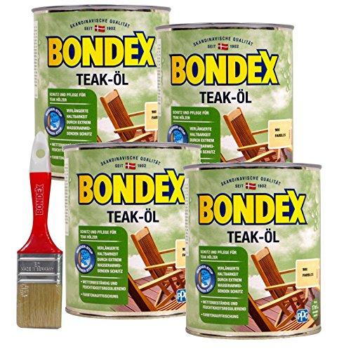 Bondex Teak-Öl farblos, 3 Liter inkl. Pinsel  - Schutz- und Pflegeöl für Aussen, Gartenmöbel  und Terrassenöl