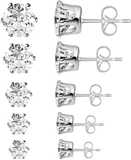 5 sizes Stainless Steel Stud Earrings Spectacular Cubic Zirconia Set in Hypoallergenic for Men, Women, Boys and Girls, Stones are 3, 4, 5, 6 and 7mm
