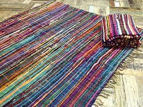 algod/ón comercio justo de Second Nature 60cm x 90cm Hermosa alfombra multicolor Chindi Rag Multi Colours