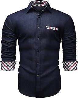 Enlision Camicie Casual da Uomo Camicia Jeans Bottoni a Maniche Lunghe Camicie da Cowboy vestibilità Regolare S-XXL