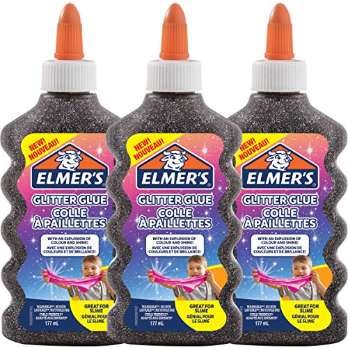 Elmer's PVA Glitter lijm | Zwart | 177 ml | Wasbaar | Geweldig voor het maken van slijm | 3 Count
