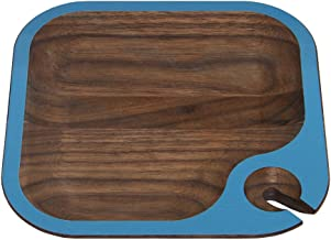 """product image for 6.5"""" Handcrafted WUD Walnut Wood Hors d'Oeuvres and Wine Party Tray with Dark Blue Trim"""