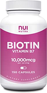 Biotin 10000mcg | 150 Capsules - Nui Nutra Pure Biotin Supplement Extra Strength (Vegan, Gluten Free, Non-GMO, Lab Tested)...