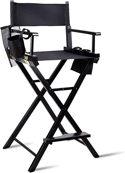 TANGKULA Director S Chair 30 Bar Height Collapsible Portable Wood Frame Foldable Tall Professional Makeup Artist Chair With Side Cup Holder Side Storage Bag Footrest