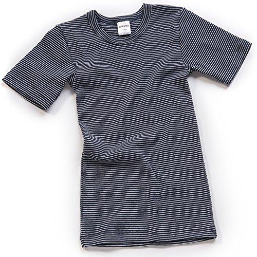 HERMKO 2681005 Kinder Thermo-Shirt Kurzarm, Größe:128, Farbe:Marine Ringel