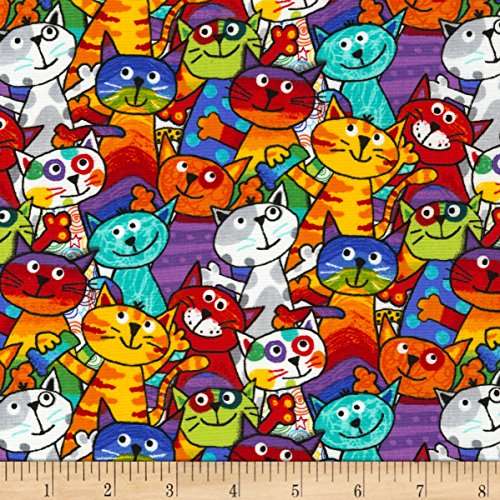 Timeless Treasures Crayon Party Stacked Cats Multi, Fabric by the Yard