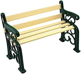 Gbell Mini Park Chair for 1/12 Miniature Dollhouse Decoration, Kids Toddlers Girls Dollhouse Accessories Toy,Black Green (...