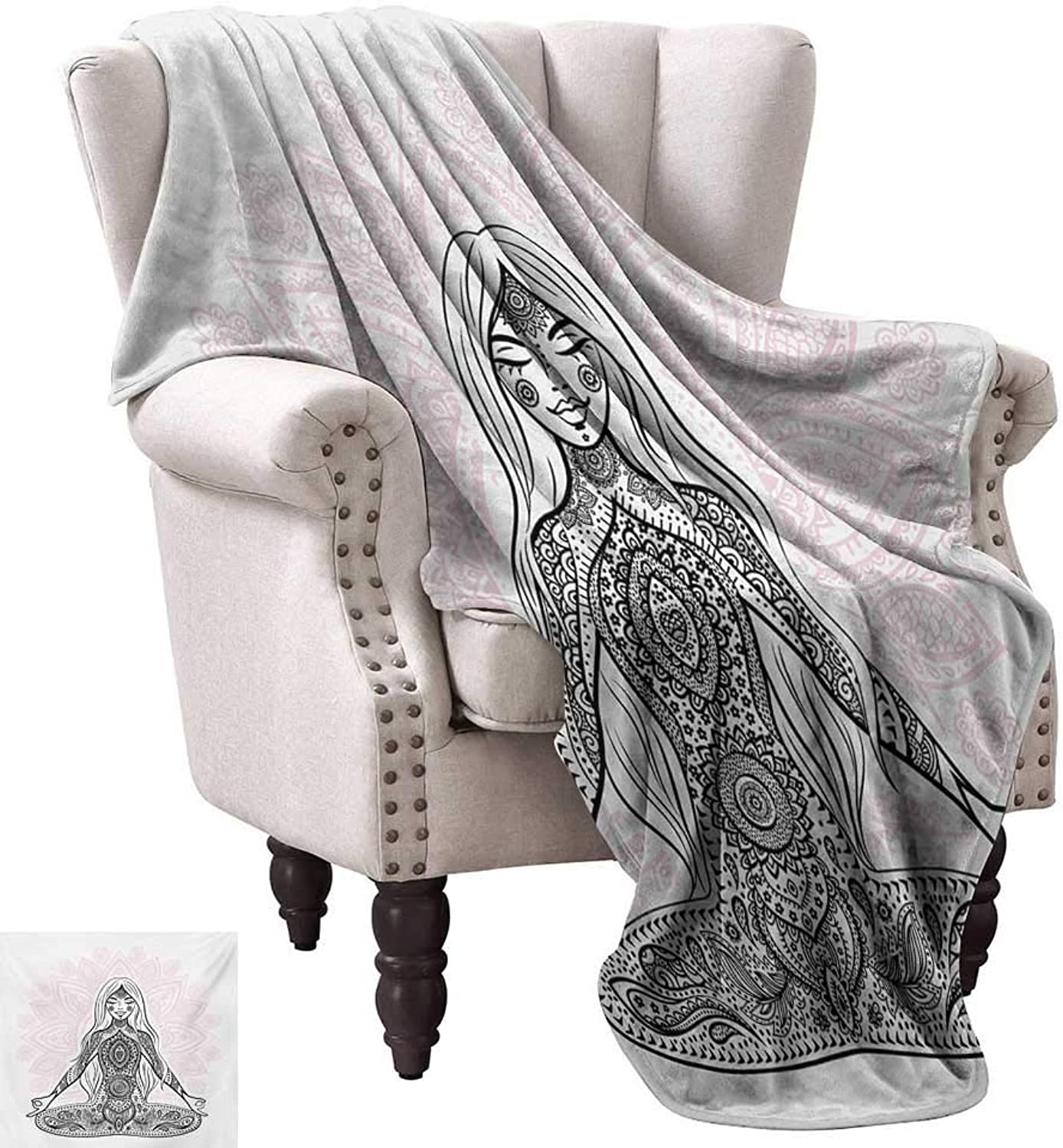 Anyangeight Digital Printing Blanket,Ornate Girl Figure on Lotus Flower with Eastern Symbols on Body Mind Calming Concept 60 x50 ,Super Soft and Comfortable,Suitable for Sofas,Chairs,beds
