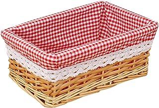 XYDZ Corbeille de Rangement Panier à Linge en Osier Boîte de Rangement avec Doublure Rouge Lavable en Lin pour Cuisine Sal...