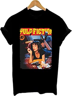 Pulp Fiction MIA Wallace Movie Film Graphic tee Women Summer Fashion tee Shirt Girl T Shirt Lady T-Shirt Casual Tops Cloth...