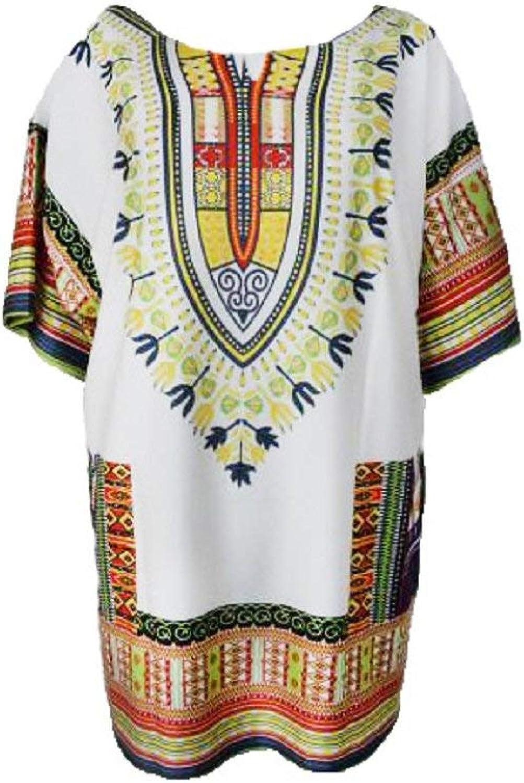 Haiyugua Women Summer Dress Traditional African Straight Print Mini Dresses Elegants Dress for Women (color   White, Size   XL)