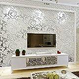 Papel Pintado No Tejido 3D Papel de Pared Diseño Barroco Impermeable Resistente a la Humedad para Sala de Estar Habitación Cocina Comedor Fondo de TV (Plata)