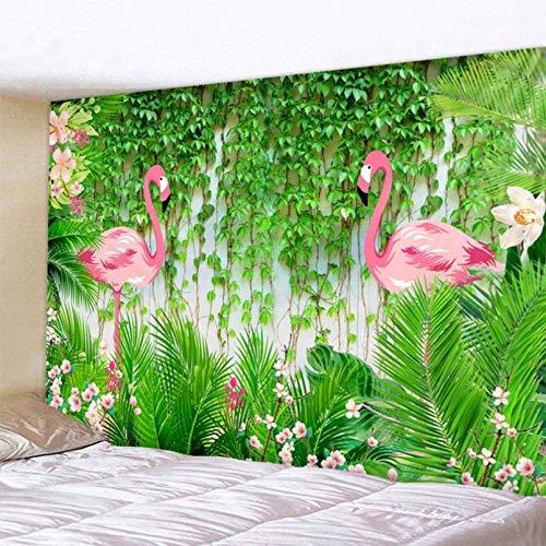 Impresión 3D tapices Tapiz de flamenco tapiz de pared Flamingo estampado de plantas tropicales psicodélico Hippie colgante de pared decoración del hogar blanco grande Regalo de arte casero de moda
