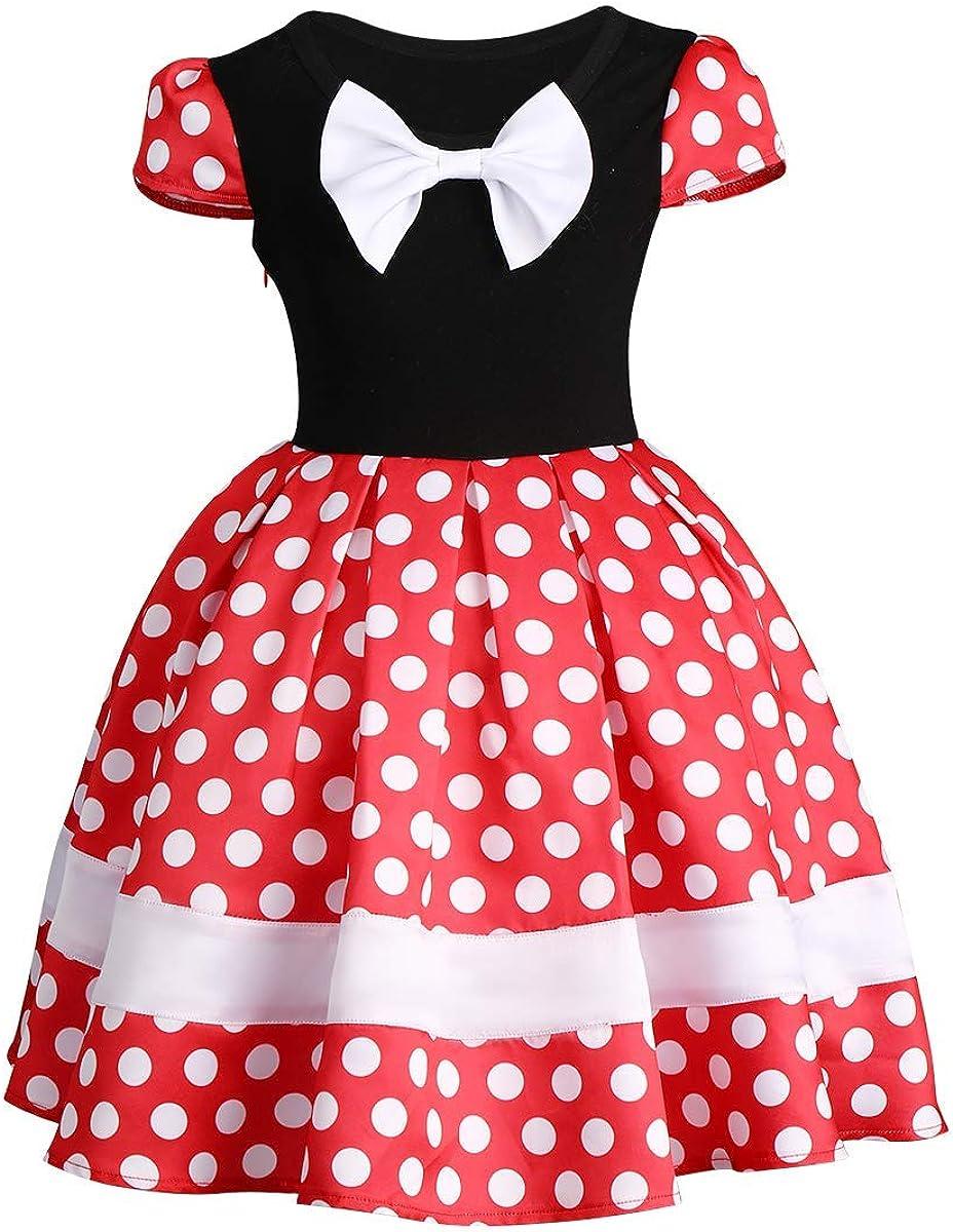 IBTOM CASTLE Baby Girls Polka Dots Leotard Dresses Fancy Dance Costume Cosplay Tutu Dress up with Ears Headband