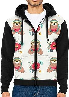 Mens Native American Sloth Fashion Hoodies Novelty Jacket Print Zipper Sweatshirts Jumper
