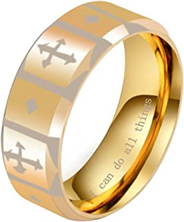 INRENG Men's Stainless Steel Christian Cross Knights Templar Shield Ring Band 8MM I Can Do All Things Engraved