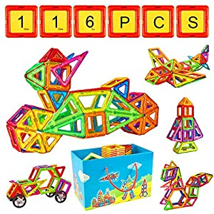 CRENOVA Magnetic Building Blocks 84pcs Magnetic Tiles Set  Creative Toys