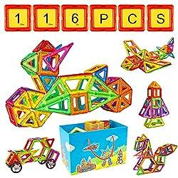 Crenova Magnetische Bausteine 116 Teiliger Bausatz Enthält Riesenrad Aufbewahrungstasche Büchlein Ideales Spielzeug als Geschenk für Kinder