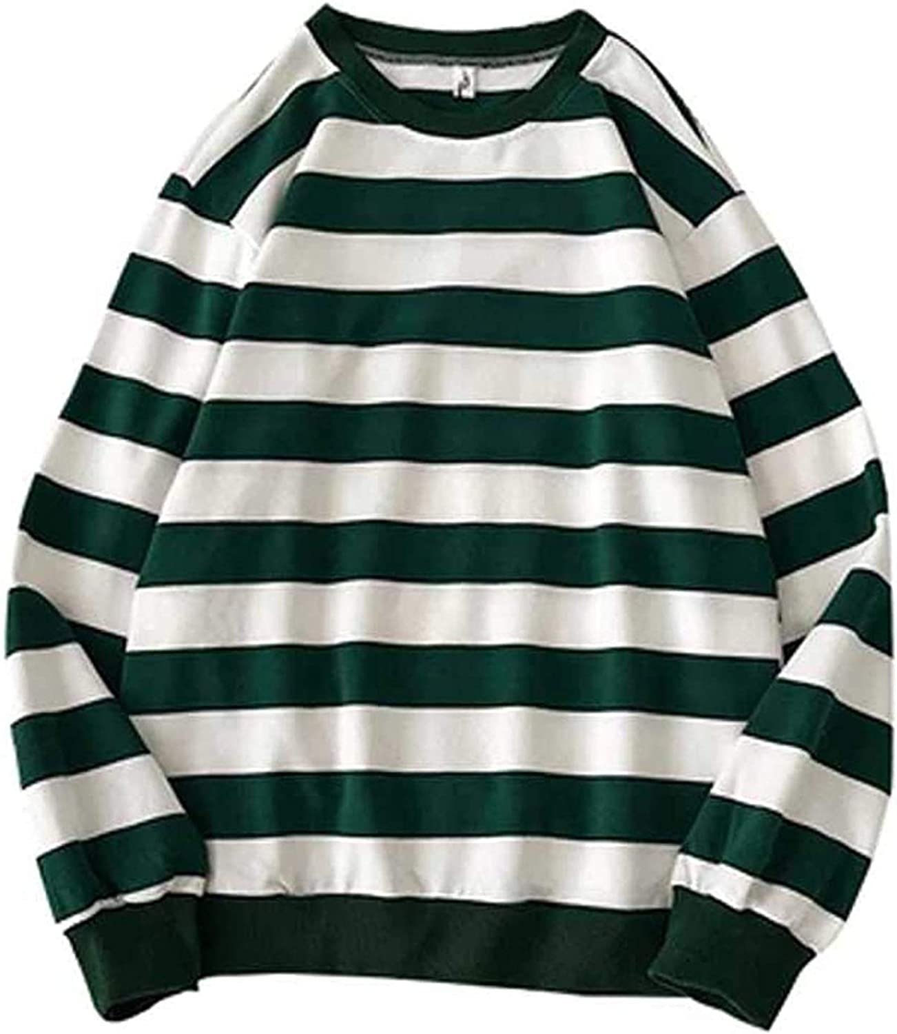 Mens Striped Color Block Sweatshirt Casual Round Neck Long Sleeve Pullover Fall Winter Soft Thermal Fit Jumper Tops
