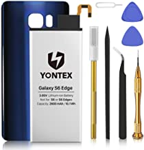 YONTEX Replacement Battery Compatible with Samsung S6 Edge, 2600mAh 0 Cycle Battery with Complete Repair Tool Kits and Samsung Galaxy S6 Edge Rear Glass Replacement(Blue)